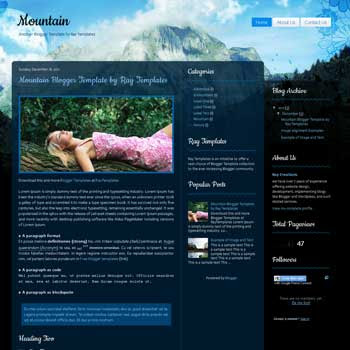 Mountain blogger template. download personal blogger template. free blogspot template