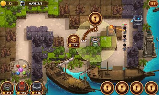 Screenshots of the Treasure defense for Android tablet, phone.