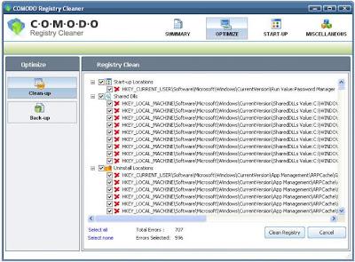 برنامج إصلاح أخطاء الويندوز و النظام Comodo Registry Cleaner