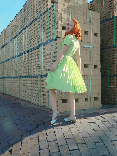 1950s green Jeanne Model dress mint Just Peachy, Darling