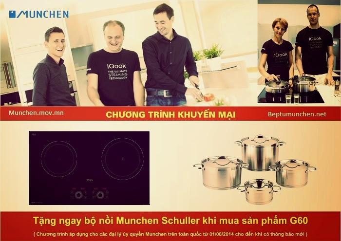Bếp từ Munchen G60 đang khuyến mãi bộ nồi Munchen Schuller