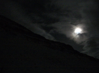 trying to find the northern lights - full moon and clouds