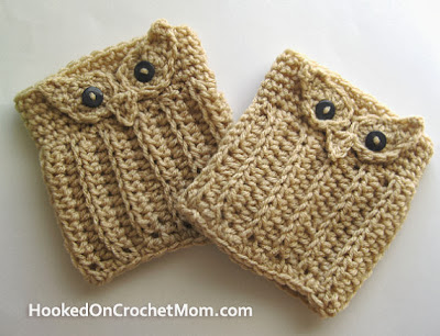 crocheted owl boot cuffs