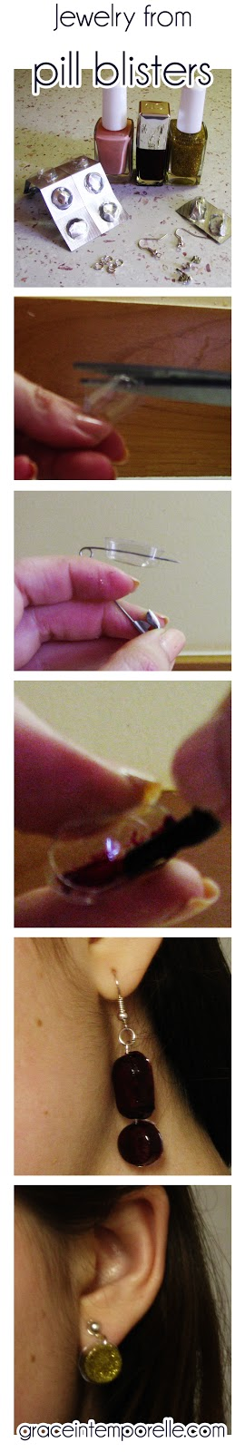 Grace Intemporelle by Natalia: How to make eco earrings from recycled pill blisters and nail polish