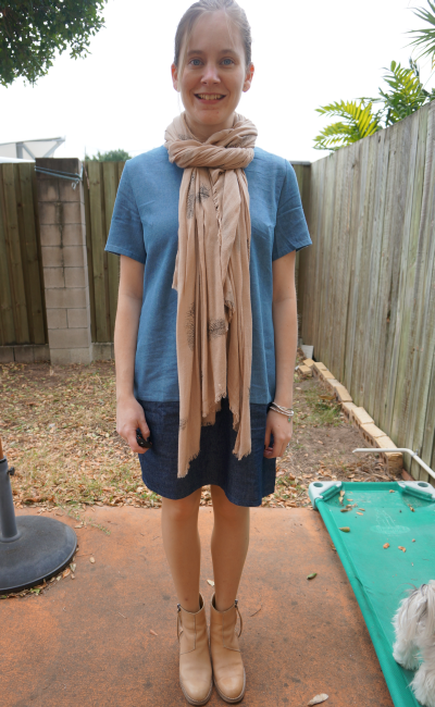 feather print pashmina scarf ezra chambray shift dress acne pistol boots