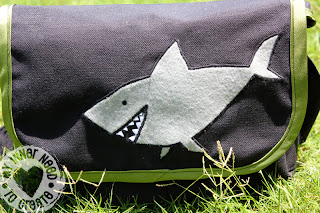 Pirate Messenger Bag with Applique Shark