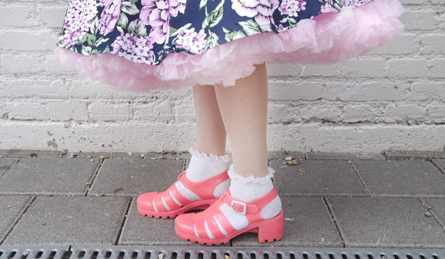 Made in Britain, Juju jelly shoes, socks and sandals, pink jelly shoes