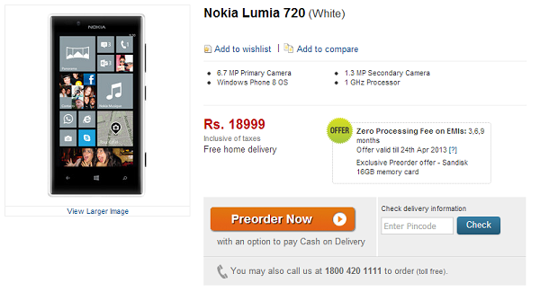Nokia Lumia 720 - available in India - Price