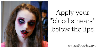 Apply your Blood Smears Below Your Lips - Zombie Makeup Tutorial Halloween Face Painting