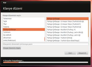 Ubuntu klavye seçimi nasıl yapılır?