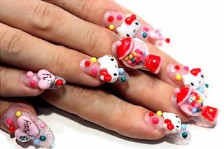 3d Hello Kitty Nail Art
