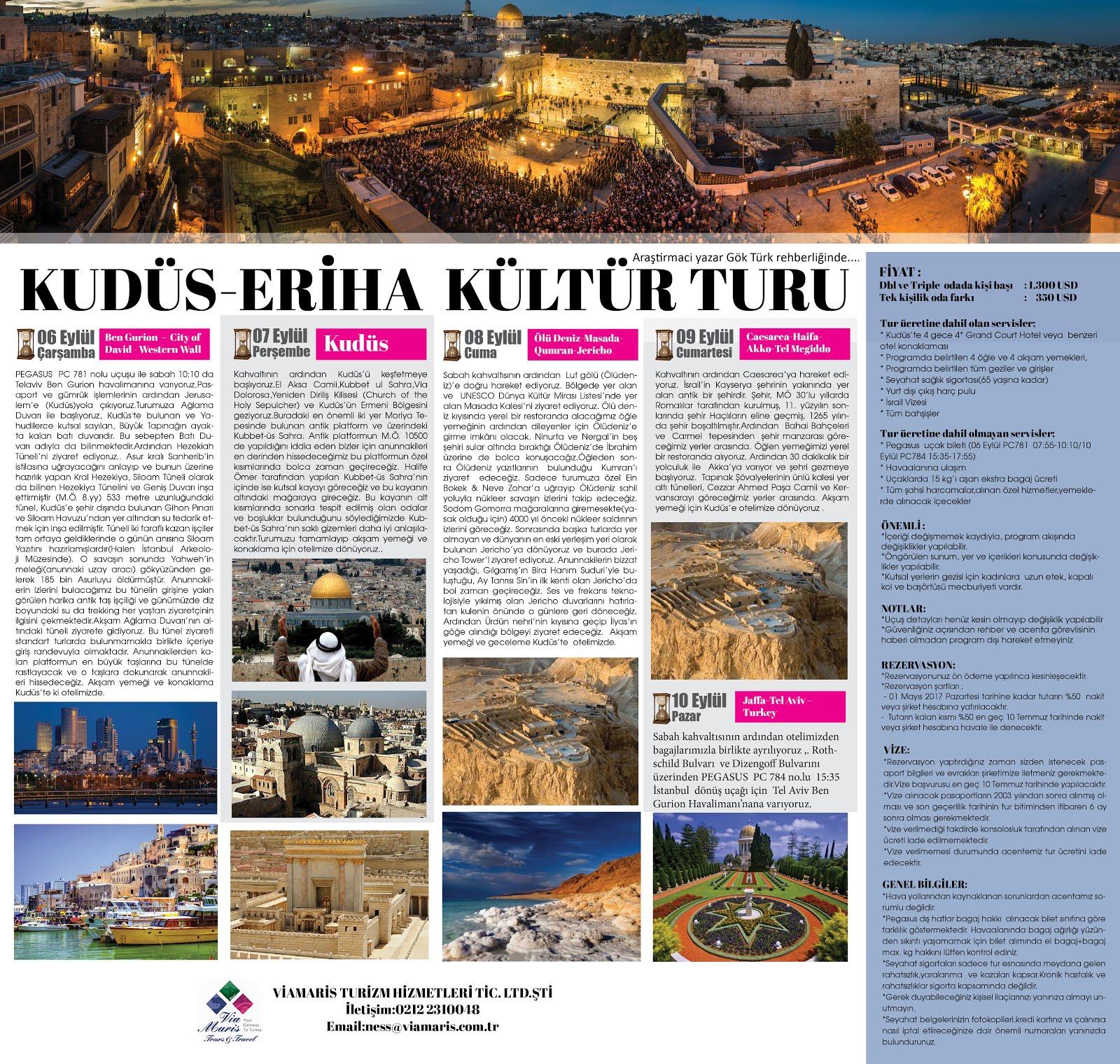 6-10 Eylül Kudüs - Eriha Turu