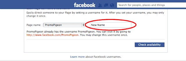 facebook pages username change