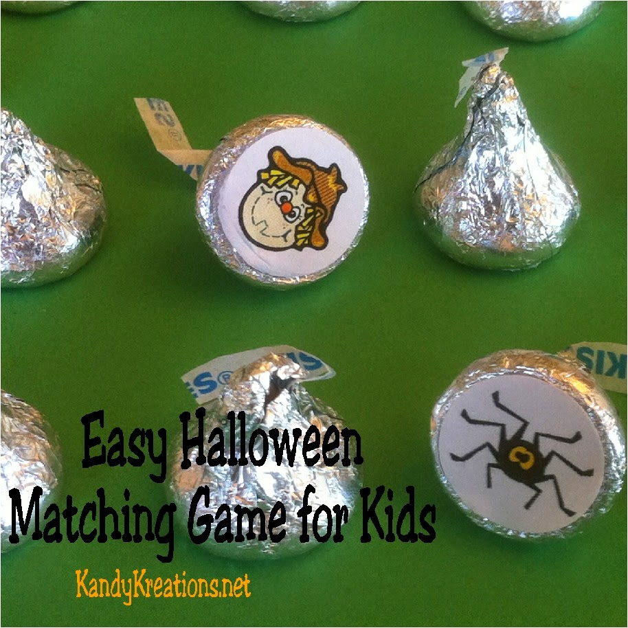 Have some fun with your kids this Halloween with this easy Halloween memory matching game for kids.  It's so easy to create this game using our free printable, a whole punch, and a bag of Hershey kisses.  You'll kids will gain a Halloween Memory that will have them smiling long past when the candy is eaten.