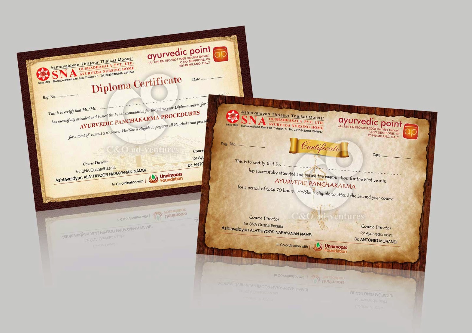 C O Ad Ventures Certificate Design For Ayurveda Course