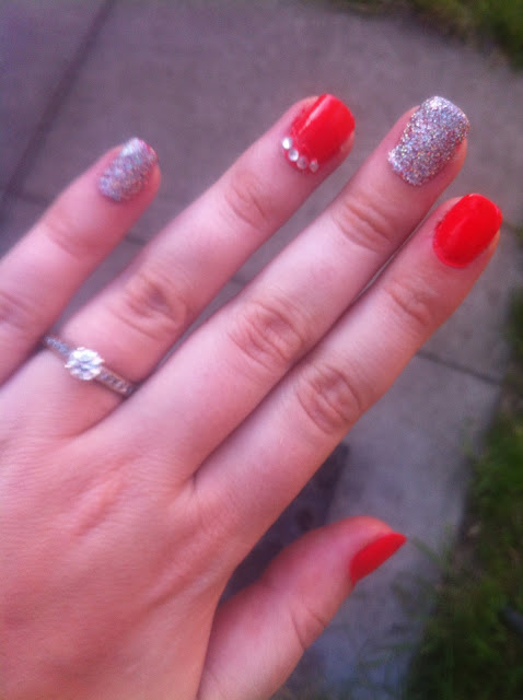 Revlon - craving coral - H&M - nail polish - silver glitter - nail designs