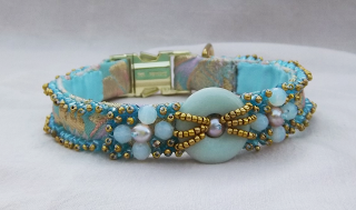 Pastel Brocade Luxury Dog Collar Handmade with Glass Beads and Freshwater Pearls
