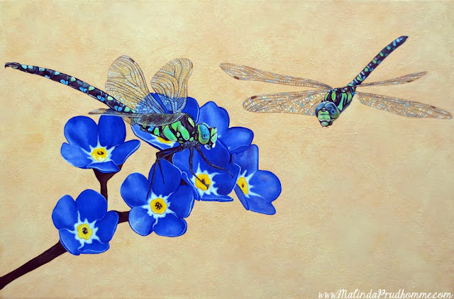 connection, dragonflies, forget me knots, blue flowers, flowers, acrylic paint, oil paint, mixed media art, mixed media painting, original painting, couple dragonflies, dragonfly art, christmas gift art