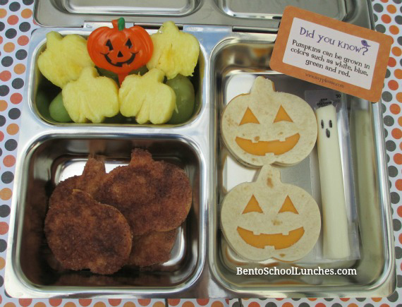 Jack-O-Lantern Halloween Tortilla Lunch and CinnamonChips {with recipe}