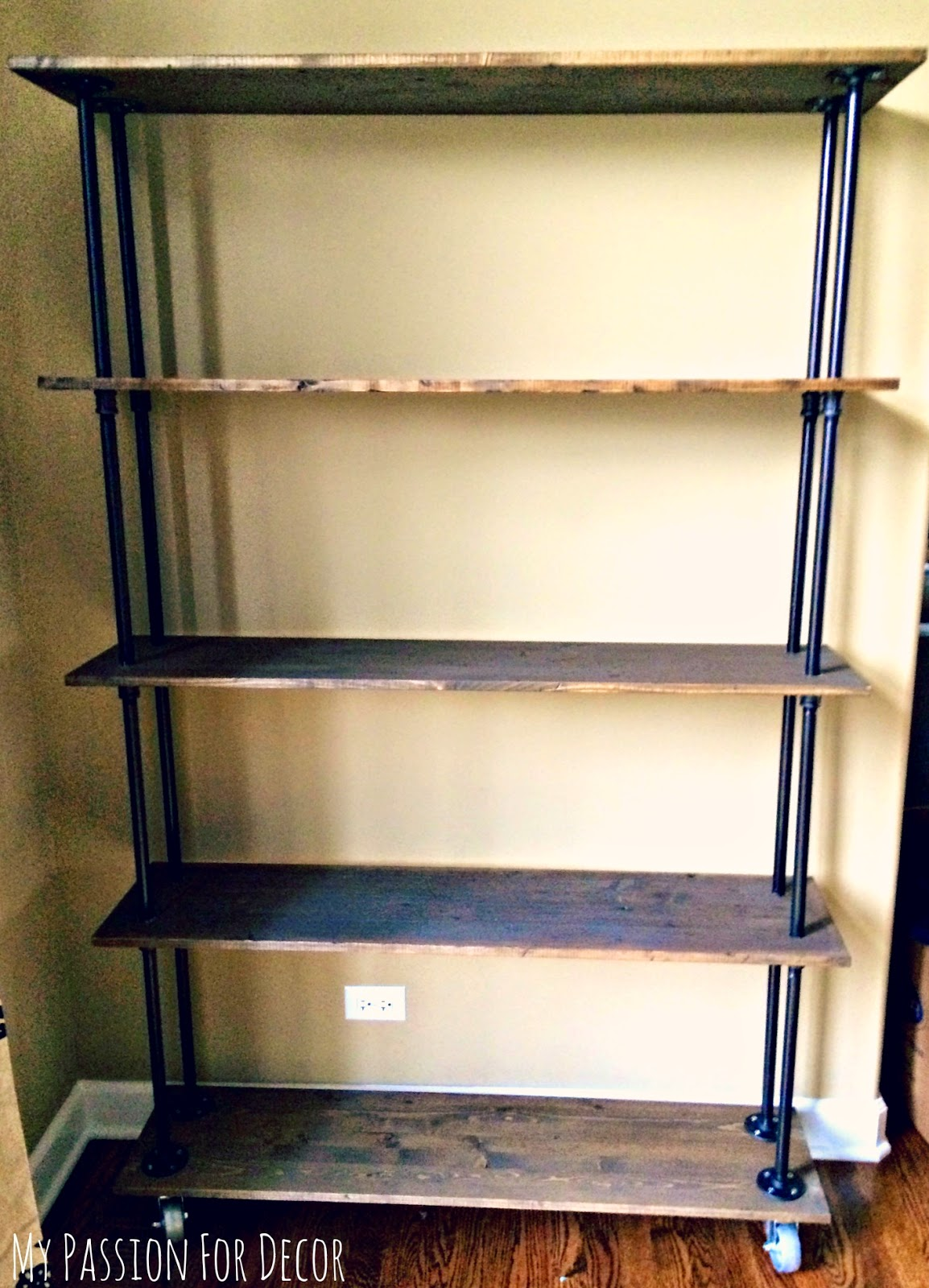 my passion for decor diy industrial pipe and wood shelving