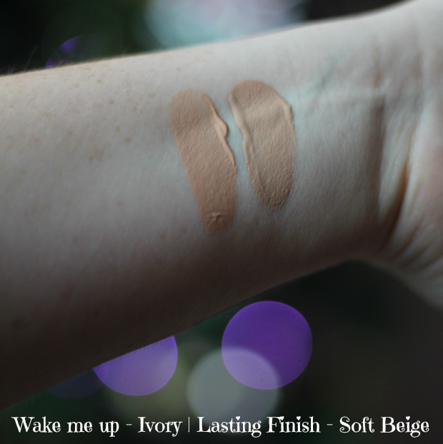 Rimmel, foundation, wake me up, lasting finish, 25 hour, soft beige, ivory, drugstore, swatches
