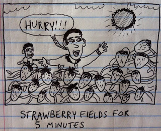 a man and his child run through strawberry fields for five minutes