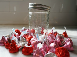glass jar with chocolate kisses