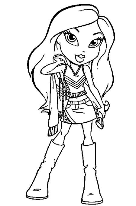 صورة بنت صغيرة للتلوين ترتدي ملابس جميلة