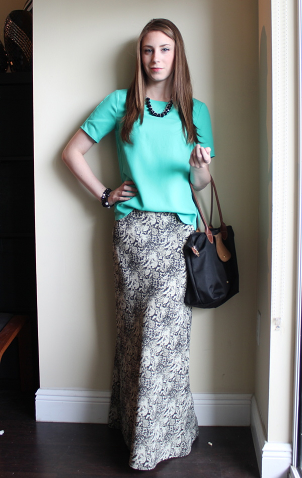 lawyer fashion blog, petite blog, professionally petite, snake print maxi skirt, ann taylor open back crepe top, target gladiator sandals, longchamp le pliage, beaded bracelets, bohypsy necklace