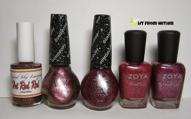 Bottle shot:  Liquid Sky Lacquer Hot Rod Red, NOPI Cinna-man of my Dreams, NOPI My Cherry Amour, Zoya Miranda, and Zoya Arabella.