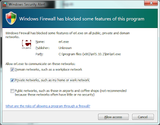 Windows Firewall dialog for Erlang.