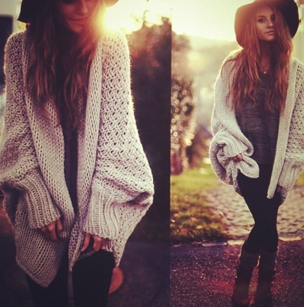 Adorable long sweater and cowboy hat for ladies fall fashion