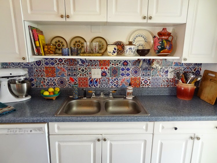 yaya bleucoin tile decal backsplash