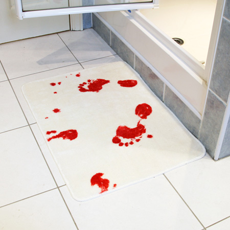 Funny track funniest bathroom gadgets for Psycho shower curtain and bath mat