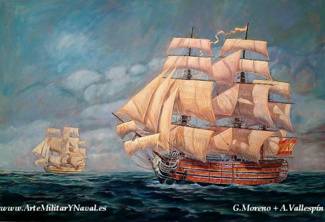 Pintura al óleo del navío español Satísíma Trinidad pintado paso a paso 6