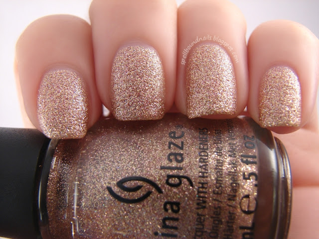 nails nailart nail art polish mani manicure Spellbound China Glaze Holiday Joy Collection color swatch Champagne Kisses Pure Joy gold rose red glitter Christmas New Year's Eve