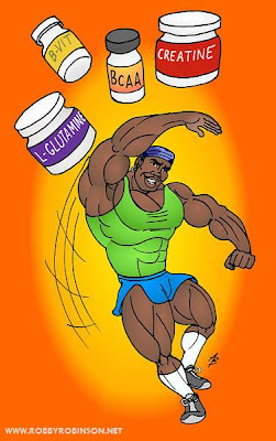 ROBBY ROBINSON - BODYBUILDER'S SUPPLEMENTS ANIMATION BY ART BINNINGER EMAIL ROBBY TO ORDER YOUR PERSONAL TRAINING, NUTRITION  AND SUPPLEMENTATION PLANS AT info@robbyrobinson.net