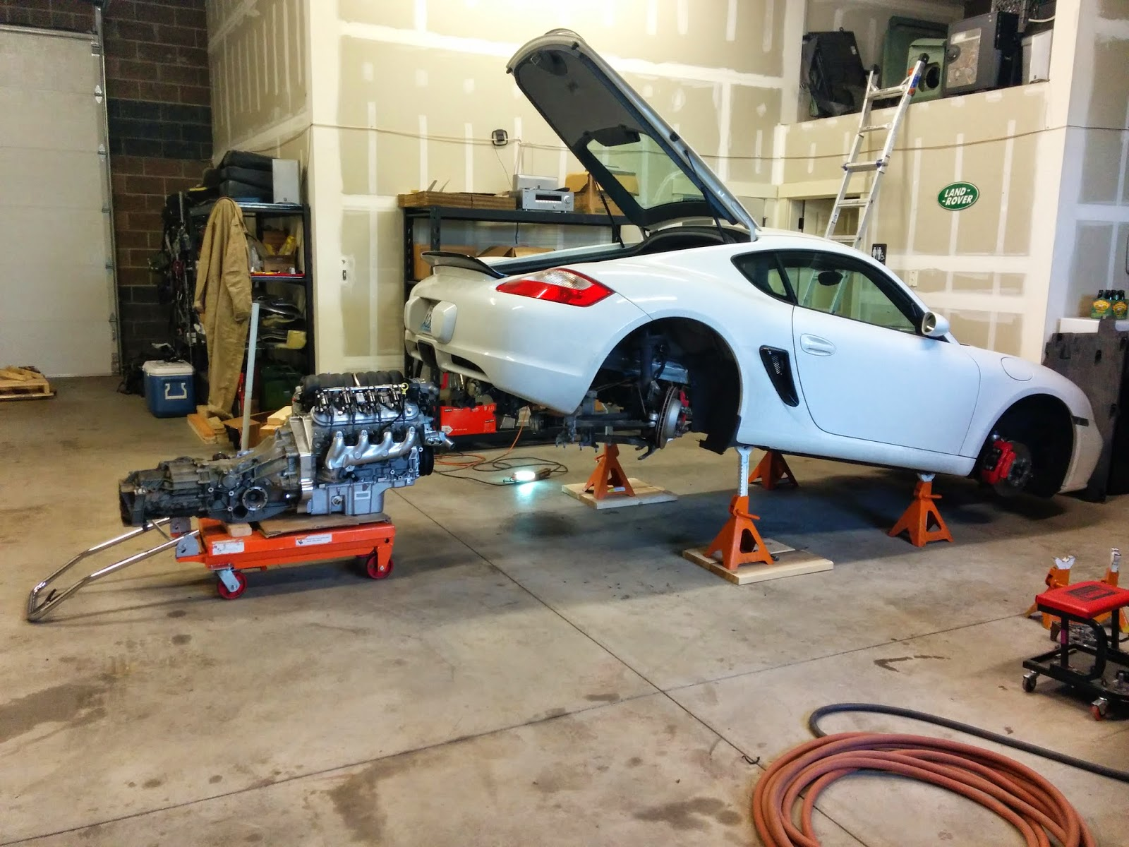 2007 cayman s with a blown motor meet ls3 kennedy adapter factory transmission