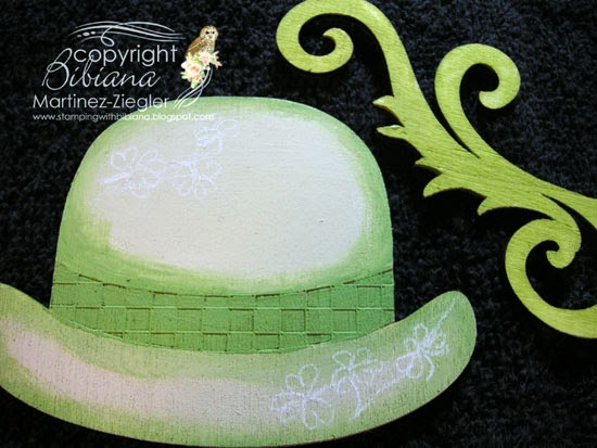 base coat step 1 to paint a green hat lapel pin for St. Patrick's
