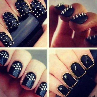 Silver nail polish dots, or silver nail embellishments like pearls and