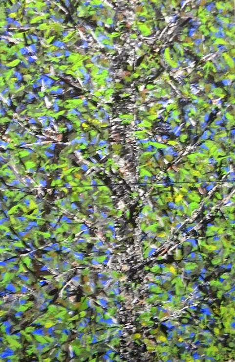 a lovely painting of birch trees