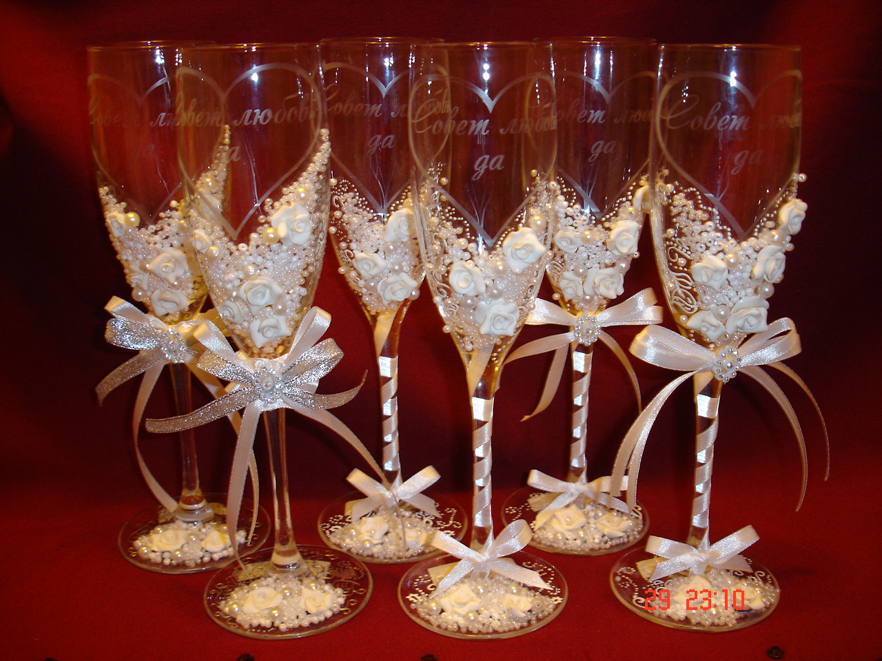 Оформление бокалов своими руками на свадьбу видео