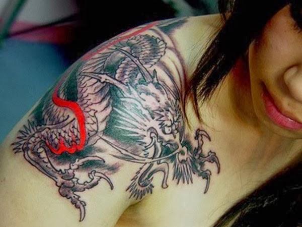 tattoo gallery for men: japanese dragon shoulder tattoos