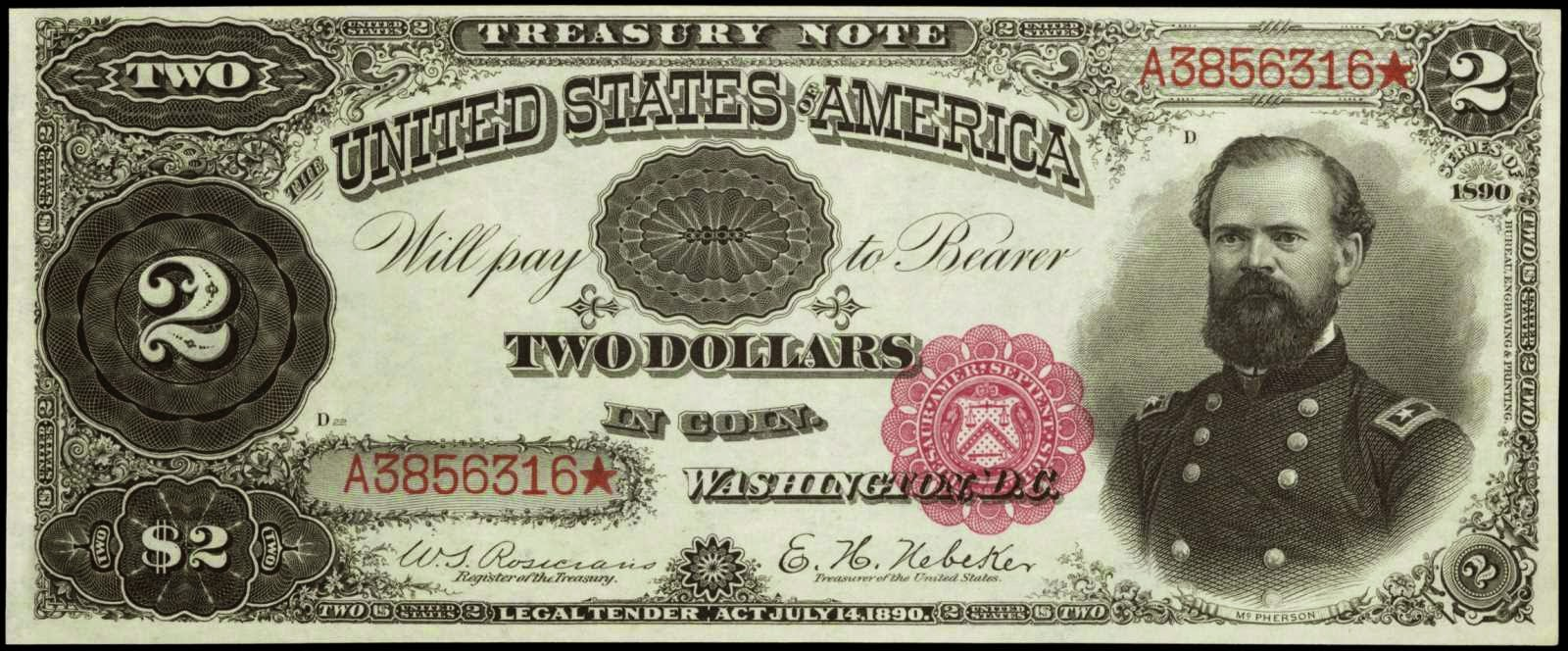 US currency 1890 Two Dollar Treasury or Coin Note