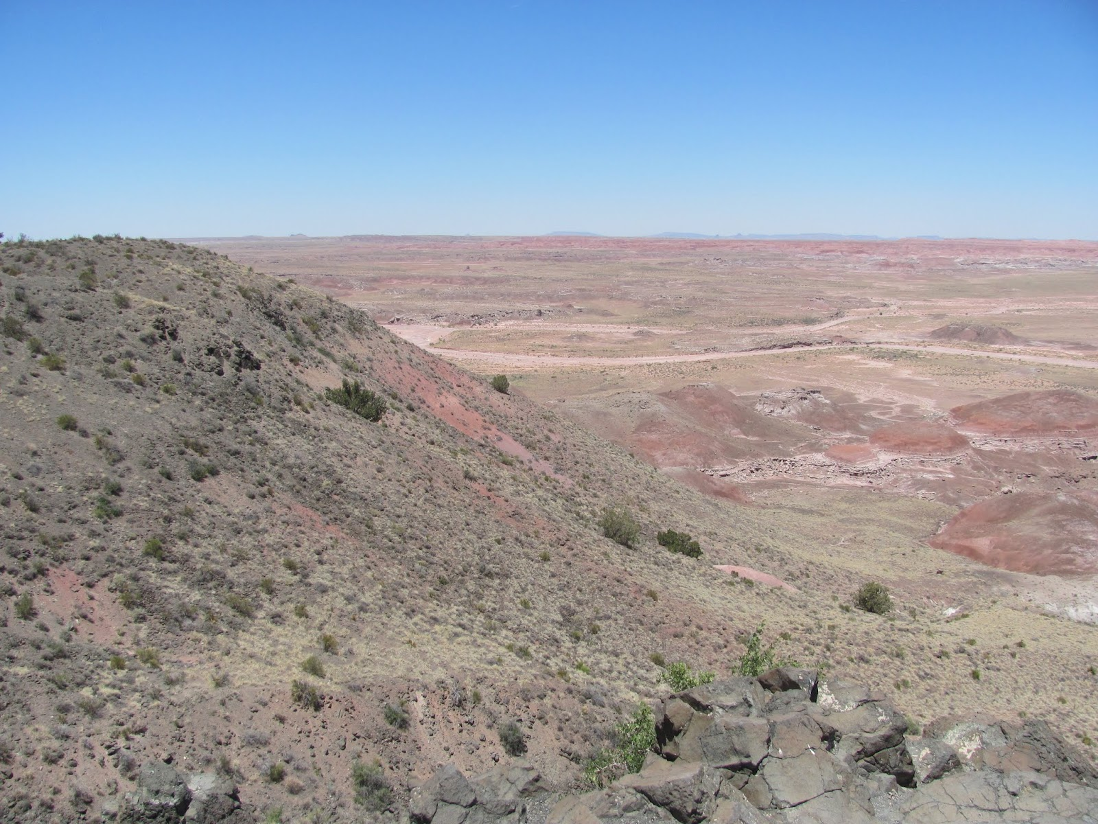 Flat, red desert at Painted Desert at Petrified Forest National Park, Arizona