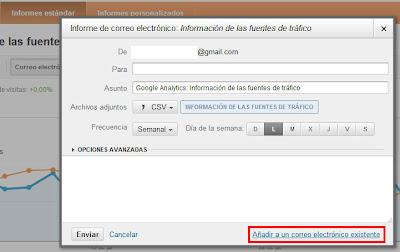 Añadir correo existente, Google Analytics
