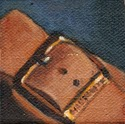 Small oil painting of a brass buckle on a brown leather sandal in front of a blue background.