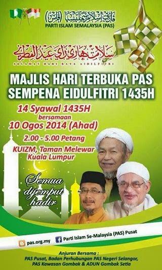 HARI TERBUKA PAS PUSAT SEMPENA EIDULFITRI 1435H/2014