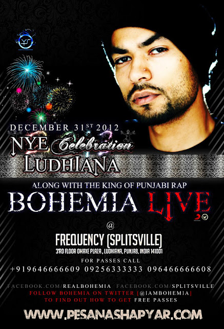BOHEMIA the punjabi rapper live in Ludhiana @ Splitsville - NYE Celebration - December 31st, 2012!