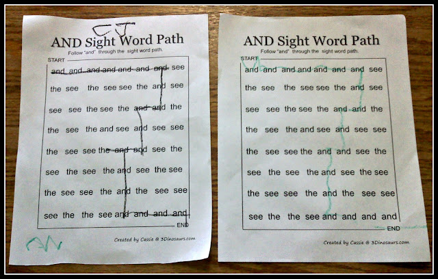 CJ and sight word did sight  did Michael worksheets worksheet these word